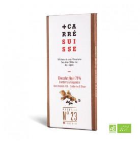 Tablette chocolat noir cranberry & gingembre 71% | N°23 - Carré Suisse